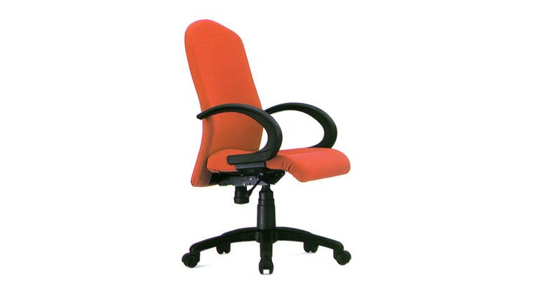 Executive Chair.  Model: Flexi medium back revolving chair with high density cushioned seat and back rest, upholstered with any colour of fabrics, push back mechanism for back tilt and comfort, gas lift for height adjustment, fixed pp arm r - by ACCURATE SEATING SYSTEMS, Bangalore