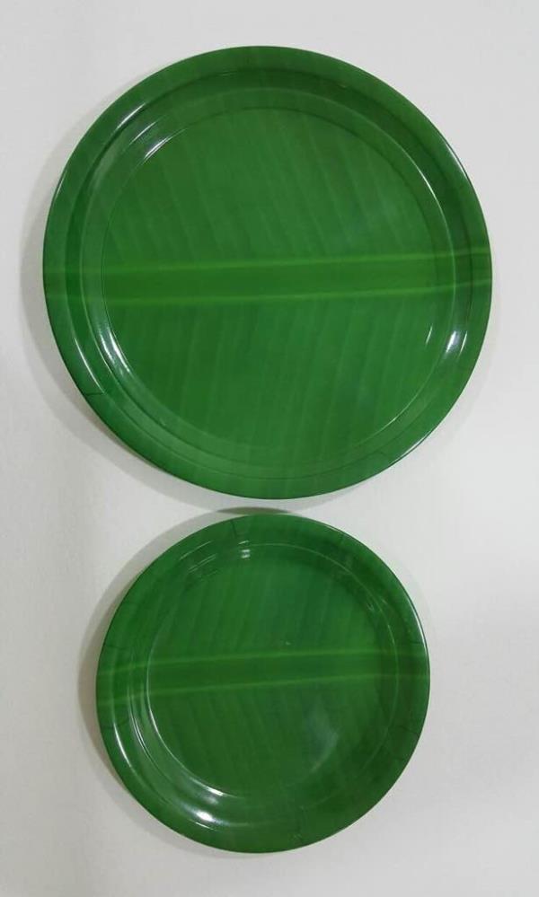 "Melamine dinner plate. Model :- buffet. Design :- banana leaf. Size :- 8"" /  11""  /  12""  /  13"". - by Prestige plastics india, New Delhi"