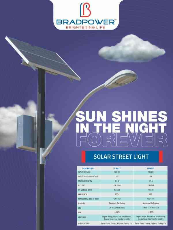 BRADPOWER PRESENTING SOLAR STREET LIGHT SYSTEM THAT INCORPORATES BATTERY, POLE, SOLAR PANEL AND SOLAR STREET LIGHT. - by Bradpower solar panel @9999810099, Greater Noida
