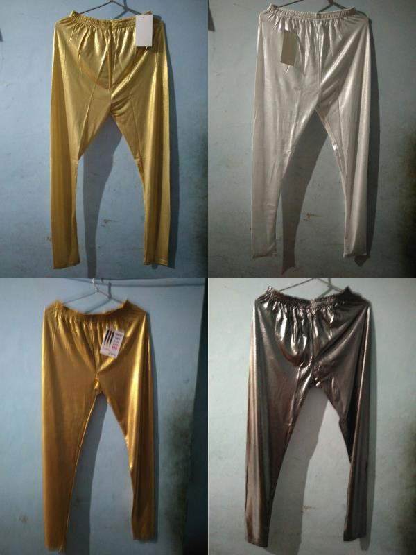 Gold / Silver / Black Shiny Leggings Available Now!! Attractive and Quality Fabric Party Wear Legging not just only give you an Attractive Look but also the comfort.  Specifications: Size: Free, XL & XXL Colour: Dark Gold, Light Gold, Silve - by Jyoti Garments - Online Leggings Store, Delhi
