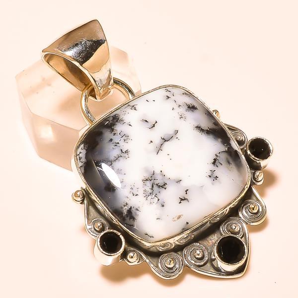 Pendant Dendritic opal Gemstone Necklace, Silver Pendant 925 silver dendritic opal Pendant in India   - by Ahan Jewels, Jaipur