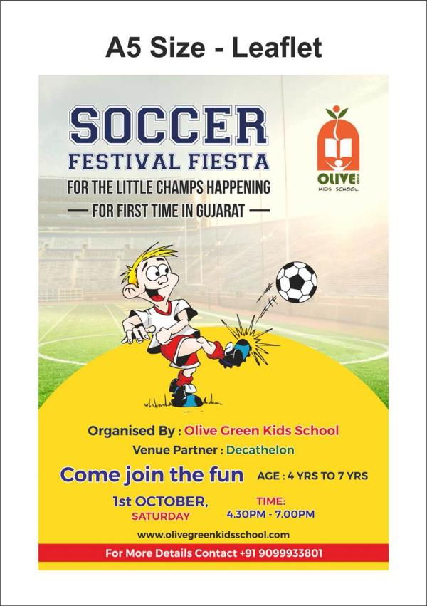Soccer fever is on.  Come with your kids and enjoy the fun of the game soccer.  - by Olive Green Kids School, Ahmedabad