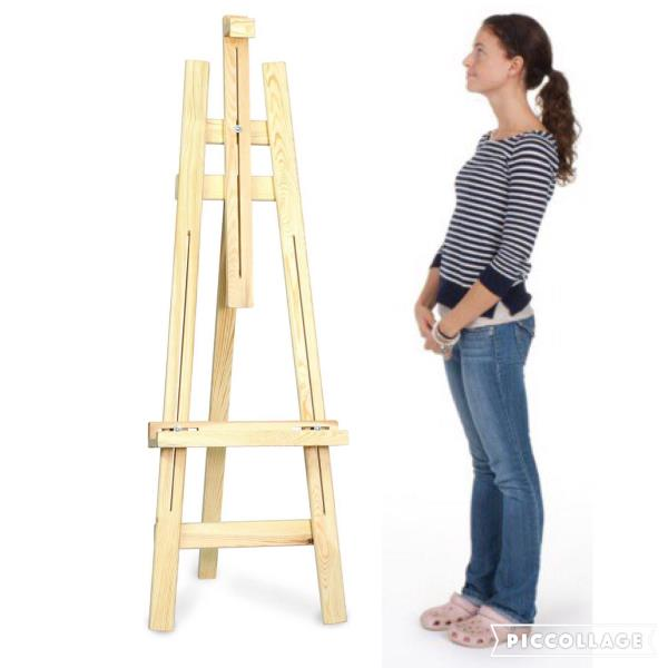 Wooden Easel Stand Roger & Moris Artist Easel 3 Legs 5'(Spruce Wood) - Artist Easel is made of spruce wood with naturally polished surface and its height is approximately 5'. This Easel is great standing on the floor for displays sketching or painting on larger canvases. It ideally suits both artists and students who enjoy drawing and painting outdoors and in the studio. Contact Kukreja Brothers