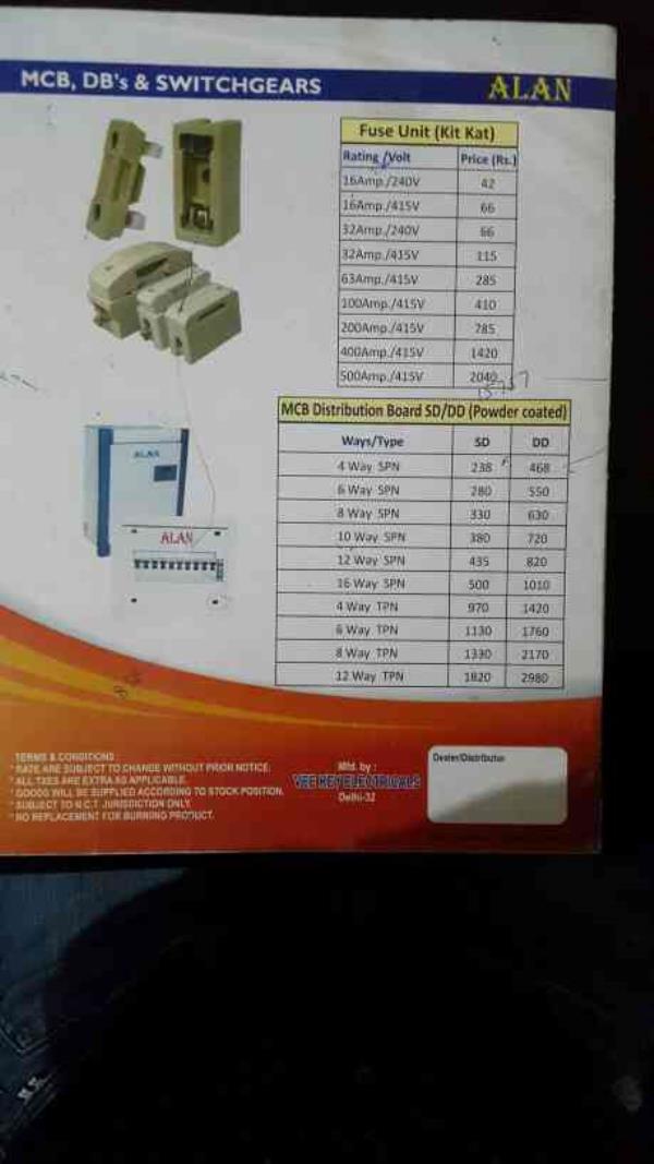 mcb boxes double door & single door price list. - by VEE KAY ELECTRICALS, New Delhi