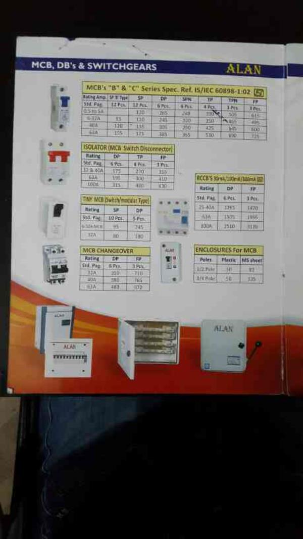 Mcb, isolator, mcb changeover & other relative items price list - by VEE KAY ELECTRICALS, New Delhi