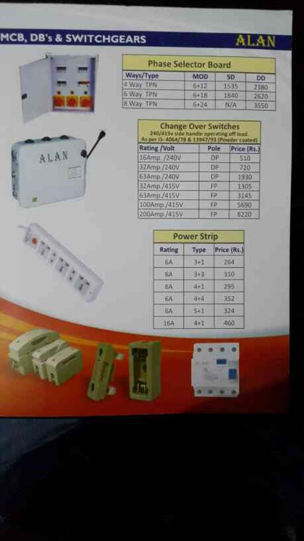 Manual changeover & phase selector board with rotary switch price list - by VEE KAY ELECTRICALS, New Delhi