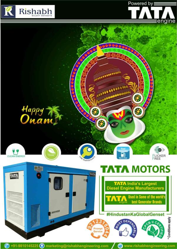 Happy Onam,  celebrate the spirit of Onam festival with us.  Ms Rishabh Engineering Co,  Silent DG Set Supplier,  Silent diesel generator dealer,  DG set manufacturer in ghaziabad,  Uttar Pradesh india - by Rishabh Engineering Co., Ghaziabad