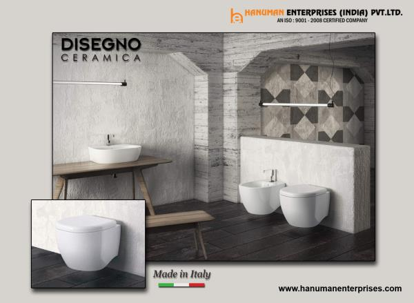Add this Designer wall hung toilet with bidet and counter top wash basin to your bathroom to make it more luxurious. For more info visit at www.hanumanenterprises.com - by Hanuman Enterprises India Pvt. Ltd., Hyderabad