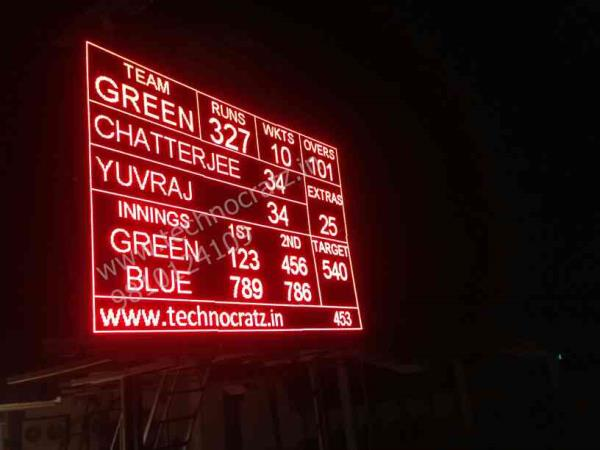 LED Cricket Scoreboard, New Delhi. This Scoreboard currently being used in Duleep Trophy, you can have a look on Star Sports HD today. www.technocratz.in - by Led videowall manufacturer, New Delhi