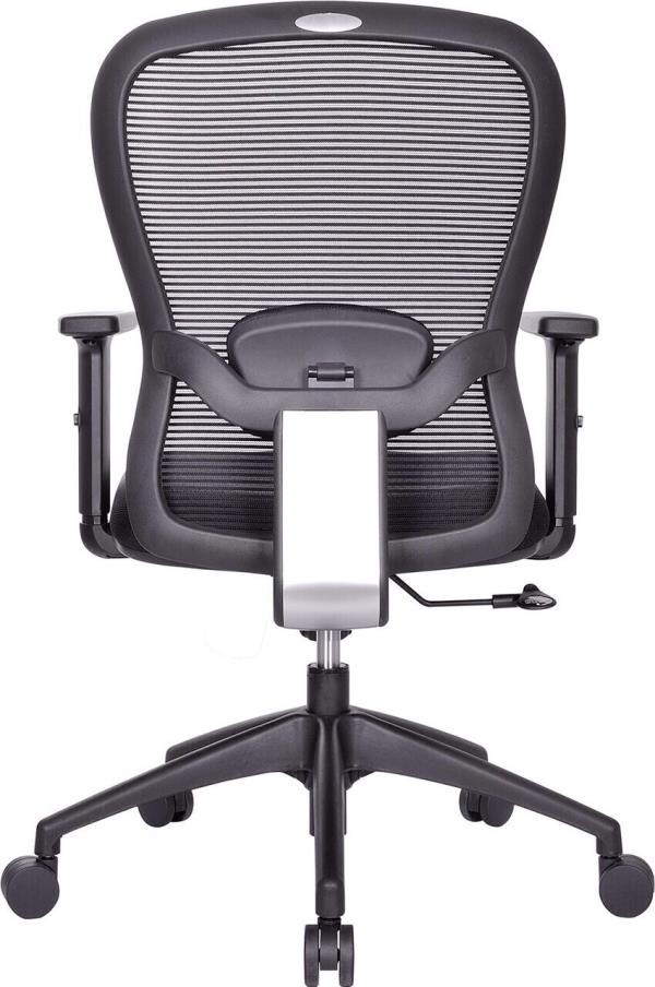 Executive Chair.  Model: SMART Medium back revolving chair with high density cushioned seat and nylon mesh back rest, lumbar support, synchro mechanism, height adjustable armrest, gas lift for height adjustment, nylon base with twin castor  - by ACCURATE SEATING SYSTEMS, Bangalore