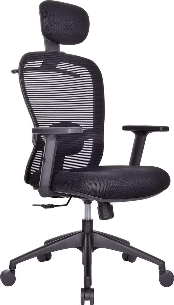 Manager Chair.   Model: SMART -High back revolving chair with high density cushioned seat and nylon mesh back rest, adjustable head rest, lumbar support, synchro mechanism, height adjustable armrest, gas lift for height adjustment, ms powd - by ACCURATE SEATING SYSTEMS, Bangalore