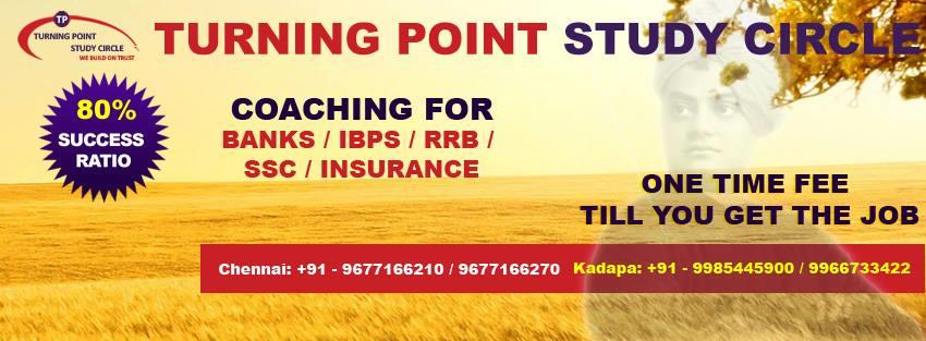 No.1 Bank Exam Coaching Centre in Chennai. Turning Point Study Circle turns to be the best and no.1 coaching center for bank exams like IBPS, SSC, RRB exams because of the highest result ratio produced it in the recent bank exams of August  - by Bank Exam Coaching Center- Turning Point study Circle 9677166270, Chennai