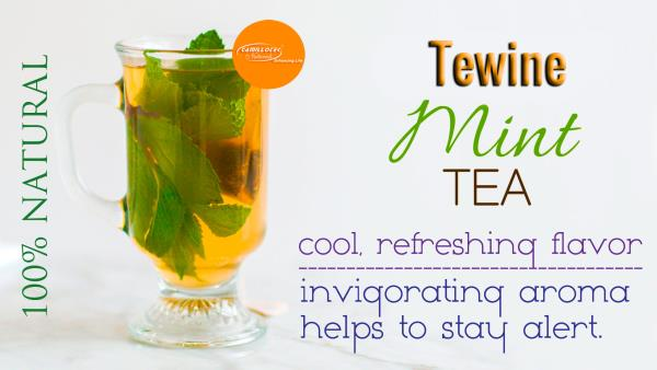 Tewine Mint & Green tea Blend 100% Natural  Health Benefits of Mint Tea : A cup of Mint tea will soothe an upset stomach and relieve heartburn.  Mint tea has a cool, refreshing flavor and an invigorating aroma that can helps to stay alert.  - by BioShope, Chennai