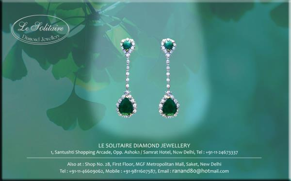 18KT White Gold Earring With Emerald And Diamonds For Further Details Visits- www.lesolitaire.in - by Le Solitaire, New Delhi