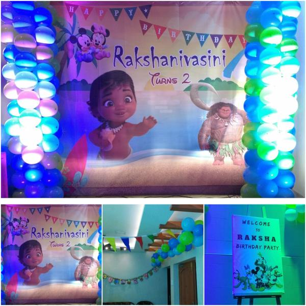 Thanks to Mum & Dad of Rakshanivasini for given us the opportunity Scope of Work:- Home Based Party Moana Theme Color theme: Light & Dark Blue & Green Non Veg & Veg Food for 50 Guest Photography Balloon Decoration, Backdrop & Welcome Design - by Midor Events. Entertainments (Contact - +91-9791031974 / +91 - 95000 52381), Chennai