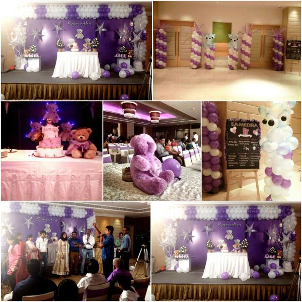 Thanks to Mom & Dad of Samedha for giving us such a wonderful & Creative opportunities. Theme - Teddy Bear theme Party Color Theme - Purple & White Scope of work: Invitation Design, Stage Design, Avenue Decor / Balloon Decor, Candy Stall, T - by Midor Events. Entertainments (Contact - +91-9791031974 / +91 - 95000 52381), Chennai