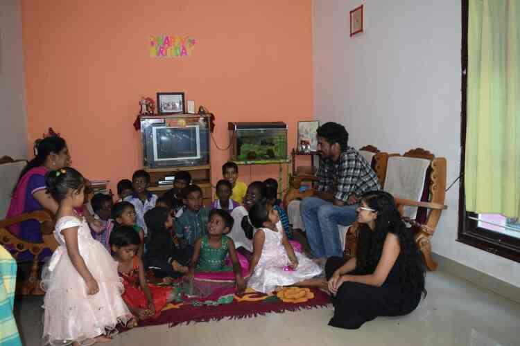Varun & Cutey sharing their memories with our ROH children.  God bless. - by Rays Of Hope, Bengaluru