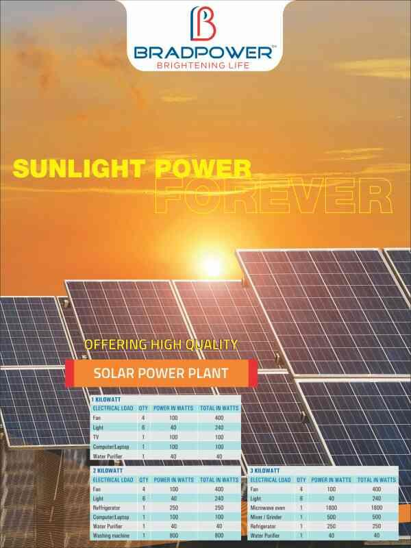 BRADPOWER SPECIALISES IN INSTALLING SOLAR POWER PLANT HAVING BOTH ON GRID SYSTEMS AND OFF GRID SYSTEM..  FOR MORE INFO WWW.BRADPOWER.IN - by Bradpower solar panel @9999810099, Greater Noida
