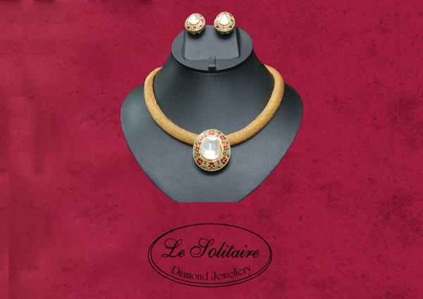 Big Uncut Diamond With Gold Mesh Chain For Further Details Contact Us- www.lesolitaire.in - by Le Solitaire, New Delhi