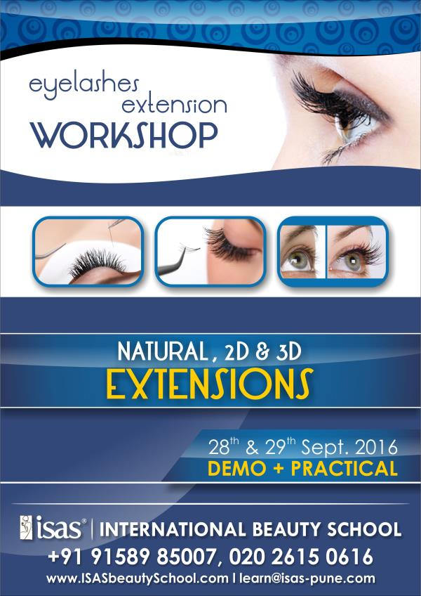 Eyelashes Extension Workshop  Natural, 2D & 3D Extensions  28th & 29th August 2016  Enroll Today !  Only @ ISAS, International Beauty School !  Certificate & Diploma Courses: #Creative_Hair_Designing #Advanced_Beauty_& _ #SpaTherapy #Person - by ISAS Ahmedabad, Ahmedabad