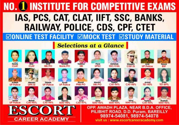 No.1 coaching institute for competetive exams. - by ESCORT CAREER ACADEMY, Bareilly