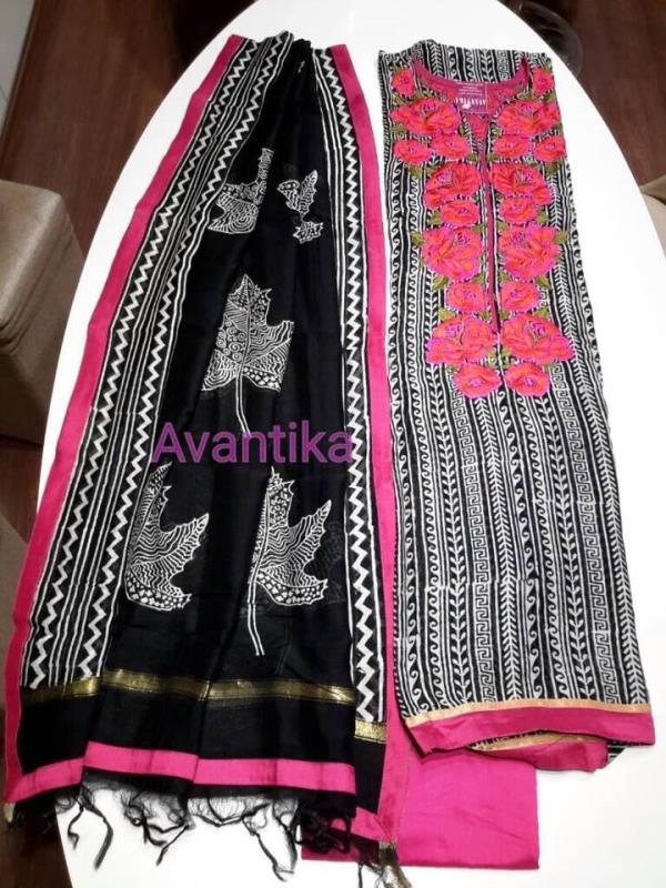 Picture of the day !  Maheshwari silk kurta and dupatta with silk bottom.  Embroidered neckline in front and back.  For purchase inquiries kindly get in touch via WhatsApp on 09979749411. - by Avantika, Ahmedabad - Gujarat