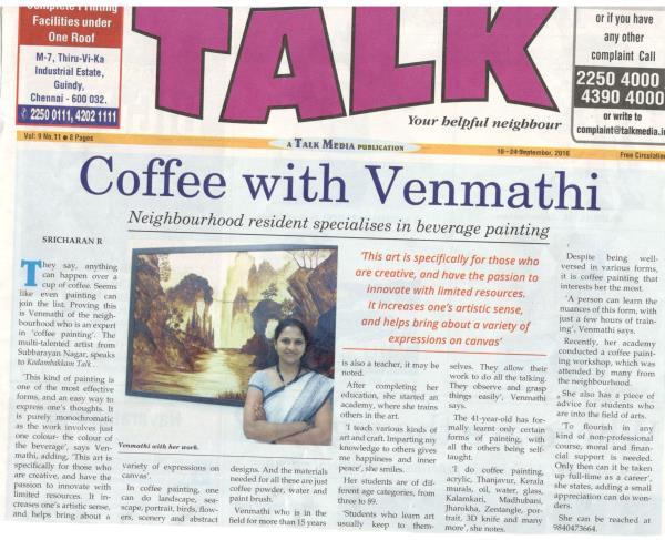 article in kodambakkam talk - 18.09.2016 - by MAVEN THE ART ACADEMY, Chennai