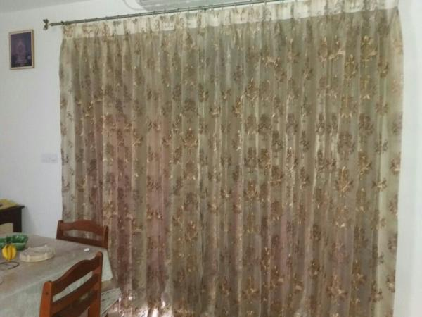 embroidary sheer curtain front side and the begin one plain texture curtain - by Welcome Shades, Chennai