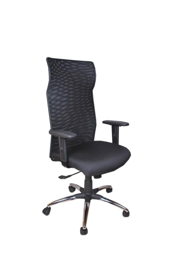 Manager Chair.  Model :ASM-110: Mesh high back revolving chair with high density molded cushioned seat with foam mesh upholstered, nylon mesh back rest, synchro mechanism for back tilt, height adjustable arm rest, chrome base with nylon cas - by ACCURATE SEATING SYSTEMS, Bangalore