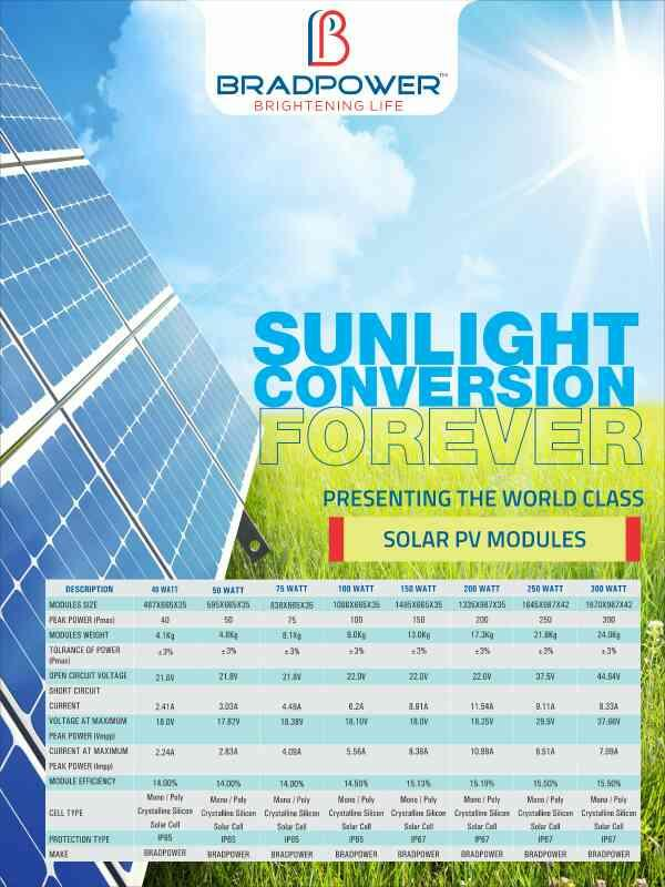 BRADPOWER IS A LEADING MANUFACTURER OF SOLAR PANELS AND SOLAR STREET LIGHTS.  FOR MORE INFO WWW.BRADPOWER.IN - by Bradpower solar panel @9999810099, Greater Noida