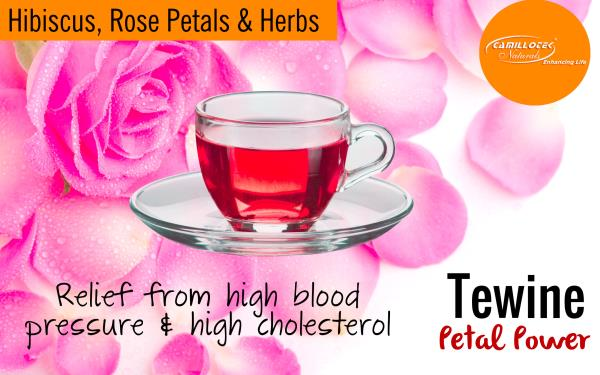 Tewine Hibiscus, Rose Petals & Herbs Blend 100% Natural Tea  Hibiscus tea is ruby red in color and has a exotic taste. No synthetic colors & sugar added for taste and color.  The health benefits of hibiscus tea Rrelief from high blood press - by BioShope, Chennai