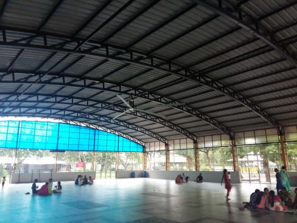 HVLS Fan in Temple. Ahmedabad 2Nos Fans, 24ft Dia, covering 180' x 70' area.  Interested parties are welcome to experience the performance live.  Services available in Ahmedabad, Baroda, Surat, Bharuch, Mehsana, Kadi, Bhuj, Gandhidham, Himm - by MGTech, Ahmedabad