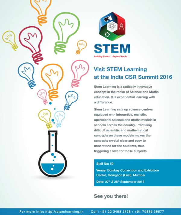 STEM Learning is at India CSR Summit, with award winning CSR organisations and NGOs.  In the spirit of educational  progress I would like to tell you about the efforts we at STEM Learning are putting towards the gratification of scientific  - by Stemlearning, Mumbai Suburban