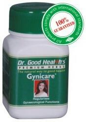 Gynicare Capsules  Therapeutic category: Menstrual Regulator   Indications: Functional gynecological disorders, D.U.B., P.M.S. Irregular menstruation and dysmenorrhea.   Dosage: 1 to 2 capsules twice or thrice daily or as directed by the physician. In premenstrual tension & dysmenorrhoea : 2 capsules twice daily, at least 7 days before the expected day of menses, or as directed by the physician.   Safety: No adverse effects in recommended doses.   Presentation: Sealed pack of 60 capsules.