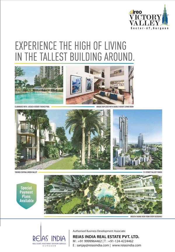 Ireo Victory valley is one of the Luxury Residential Development by  Ireo at Golf Course Extension Road Gurgaon. Construction partners Larsen & Tourbo. There are 3 High-rise Tower & 27 Mid rise tower in 25 Acres of Developments with 794 Lux - by Reias India Real Estate Pvt. Ltd., Gurgaon