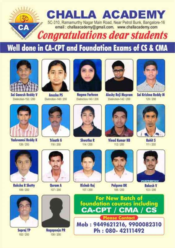 Coaching for ICWA Inter by experienced professionals.  Best results Morning & weekend batches conducted by highly qualified professionals. Max 25 per batch Run by a Charitable Trust Promoted by Sri Mahalingam Retd Group Gen Manager/Finance  - by Challa Academy PU College, Bengaluru