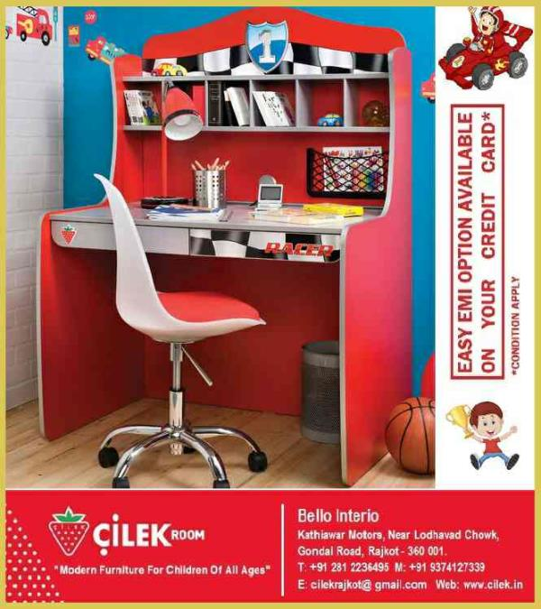 """CILEK'S - Racer Series Study Desk With Unit Holds Realistic Look By Its Small Compartment, Dual Drawer and Graphics of Checker Flag along with Logo of Number """"1"""" At Center Of The Top. - by KK Enterprise, Rajkot"""