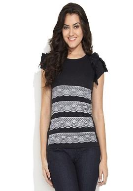 Girls Round Neck Lace Prints Top  ✓Brand : Remanika ✓Size : M ✓ Colour : Black ✓ Fabric : Viscose ✓ Neck : Round Neck ✓ Sleeves  : Short Sleeves ✓Disclaimer : Product color may slightly vary due to photographic lighting sources or your monitor settings
