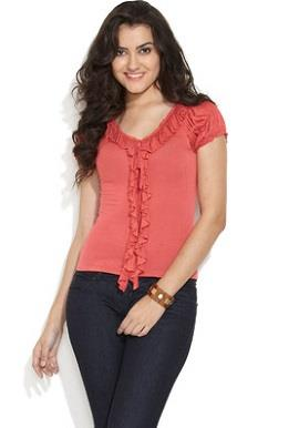 Peach Ruched & Ruffles Top  ✓ Brand : Remanika ✓ Size : L ✓ Colour : Peach ✓ Fabric : Viscose ✓ Neck : V Neck ✓ Sleeves  : Short Sleeves ✓ Disclaimer : Product color may slightly vary due to photographic lighting sources or your monitor settings