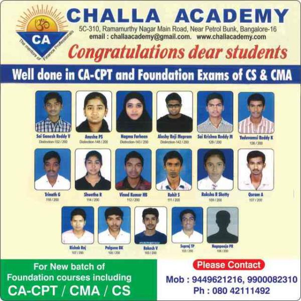 Best coaching for Accountancy by the experienced Professionals. PUC, CPT best results Contact Challa Academy Near Petrol Bunk Ramamurthy Nagar Main Rd Bangalore 16 Oh 42111492  9449621216 - by Challa Academy PU College, Bengaluru