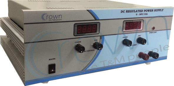 DC Power supply manufacturer  CROWN DC power supply are very reliable power supply ,  our DC power supply are being used in various industries & institution , our running dc power supplies are 0-30V/2A , 0-30V/5A , 0-30V/10A , 0-30V/20A , D - by Crown Electronic Systems, New Delhi