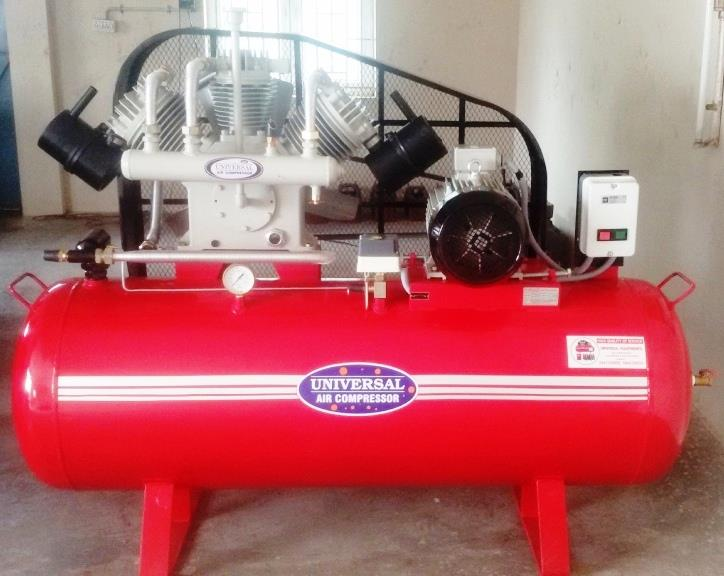 TC 1000 Model Air Compressor, 10 hp Motor, 500 Liters Air Receiver, Working Pressure 12 kg Industrial Air Tank Compressor.  Used for Knitting machine, Liquid Filling machine, Garments Machine, Powder Coating machine, Pneumatic machines, CNC and VMC machines.