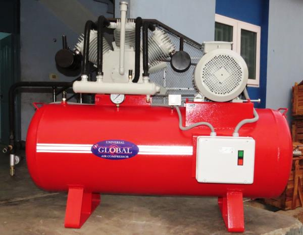 TC 2000 Model Air Compressor, 20 Hp motor, 500 liters Air Receiver, Working pressure 12 kg Industrial Air Tank Compressor.  Used for Shot blasting machines, Plastic industries, Foundries, Knitting industries, Garment industries and so on