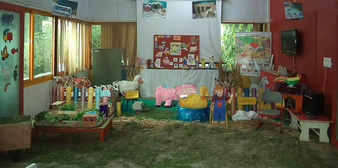 A Farm created by Navrangpura to explain Farm Animals as a concept of the month - by Olive Green Kids School, Ahmedabad