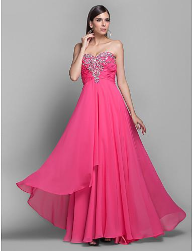 A-line/Princess Sweetheart Floor-length Chiffon Grace Evening Dress - Custom Made - by Runway Fashion - online store of custom tailored dresses, South Delhi