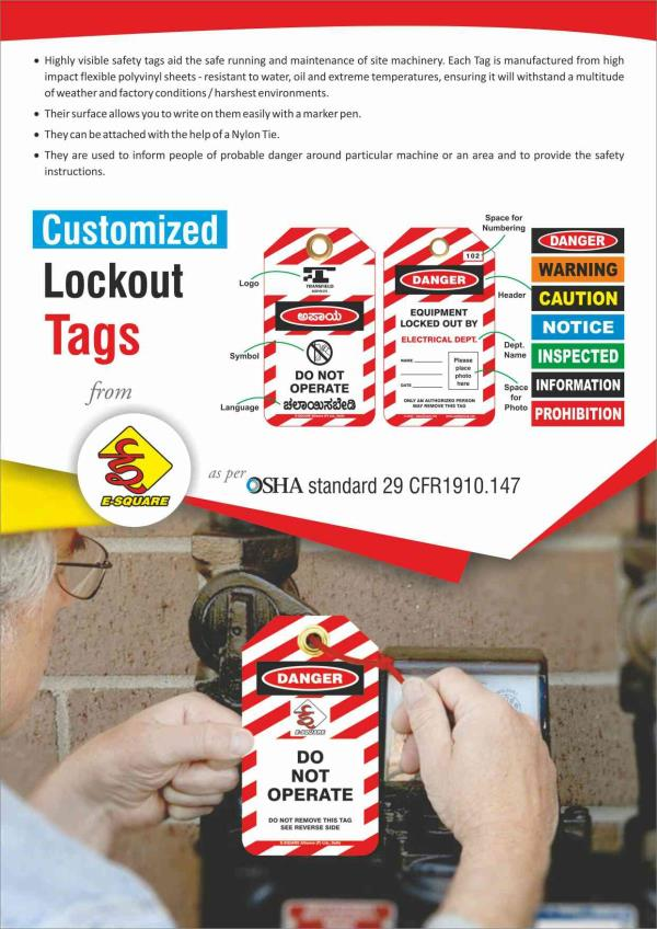 Customized Lockout Tagout Safety Tags  All kinds of Lockout tags can be made as per client's requirement.
