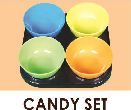 Candy -multi coloured bowls with tray - by Tintin Crockery, Faridabad
