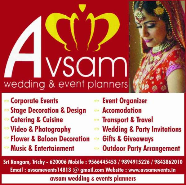 wedding and event organizer in trichy tamilnadu India,  stage decorators in trichy tamilnadu India,  video photography in trichy tamilnadu India,  catering contractors in trichy tamilnadu India,  www.avsamevents.in +919566445453  - by AVSAM EVENTS, Trichy
