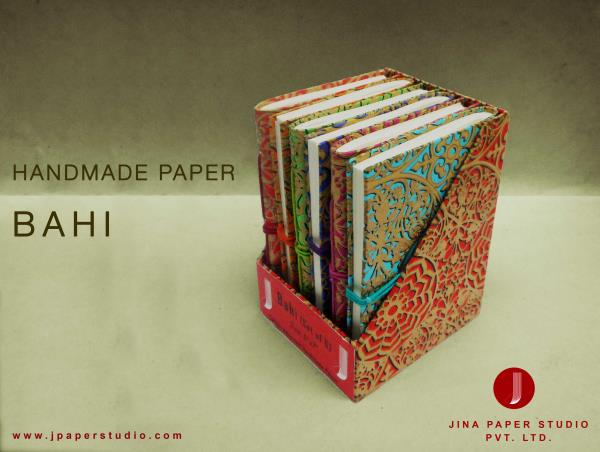 HANDMADE PAPER BAHI (set of 6)  Lets get to the old traditional ways...We bring to you Bahies of Handmade paper, paper that stays unharmed for hundreds of years. This kind of paper has saved our ancient books& manuscripts & now its for us to never let our writings fade away...  This Handmade Paper is prepared from waste cotton fabric so is 100% Eco-friendly & recycled. A small initiative to save trees...
