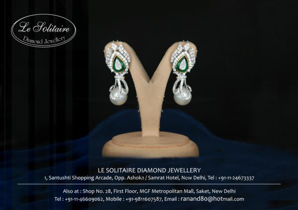 Emerald Earring With Diamonds And Pearls For Further Details Contact Us- www.lesolitaire.in - by Le Solitaire, New Delhi